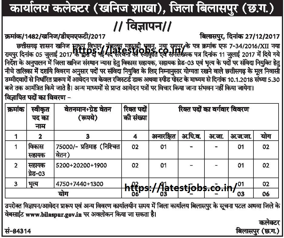Vacancy in Collector Office Bilaspur Recruitment 2018 Apply Offline