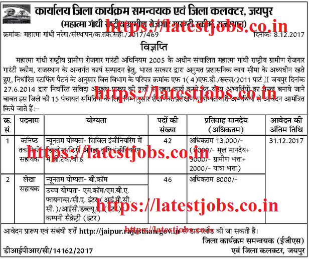 Bank Jobs In India Junior Assistant Posts In National Co: Vacancy In Collector Office Jaipur Recruitment 2017 Apply